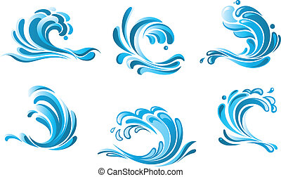 blaues wasser, wellen, symbole