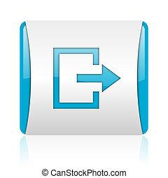 blaues, web, quadrat, ausgang, glänzend, weißes, ikone