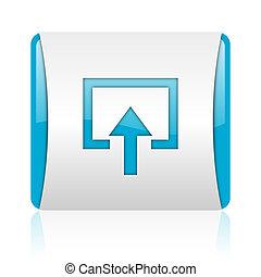 blaues, web, quadrat, glänzend, hereinkommen, weißes, ikone