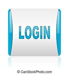 blaues, web, quadrat, glänzend, login, weißes, ikone