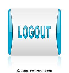blaues, web, quadrat, logout, glänzend, weißes, ikone