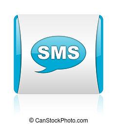 blaues, web, quadrat, sms, glänzend, weißes, ikone