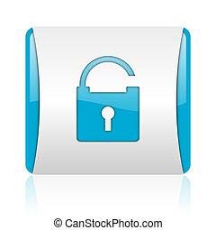 blaues, web, quadrat, vorhängeschloß, glänzend, weißes, ikone