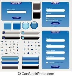 blaues, web, schablone