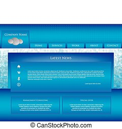 blaues, website, geschaeftswelt, schablone