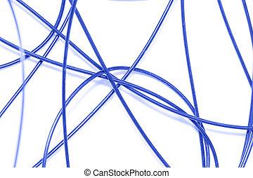 blaues, weißer hintergrund, kabel