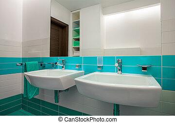 Blaues, Weißes, Elemente, Badezimmer