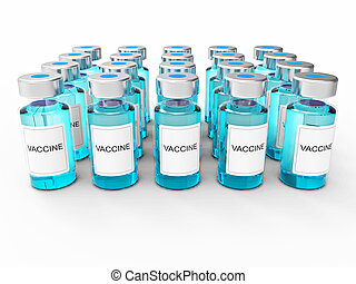 blaues, weißes, flaschen, impfstoff, hintergrund