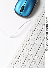 blaues, weißes, maus, tastatur