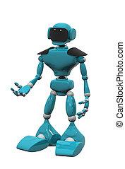 blaues, weißes, roboter, hintergrund