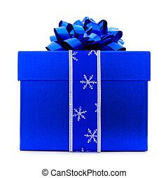 blaues, weihnachtsgeschenk, kasten, freigestellt
