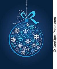blaues, weihnachtskugel