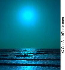 blaues, weinlese, magisch, hintergrund