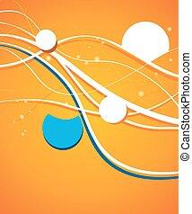 blaues, -, welle, flieger, design, hintergrund, orangenkreis