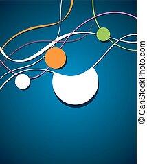blaues, -, welle, flieger, grüner hintergrund, design, kreis