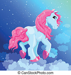 blaues, wenig, pony