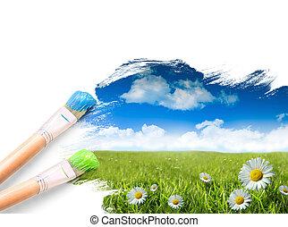 blaues, wildes gras, himmelsgewölbe, gänseblümchen