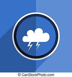 blaues, wohnung, design, sturm, modern, web, ikone