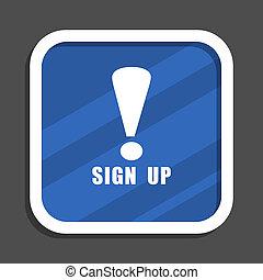 blaues, wohnung, quadrat, web, auf, zeichen, design, ikone