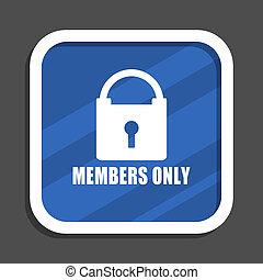 blaues, wohnung, quadrat, web, nur, design, mitglieder, ikone