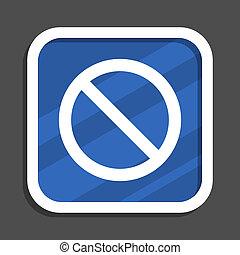 blaues, wohnung, quadrat, webzugang, design, verweigert, ikone