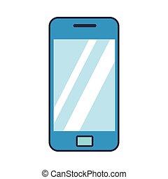 blaues, wohnung, smartphone, ikone