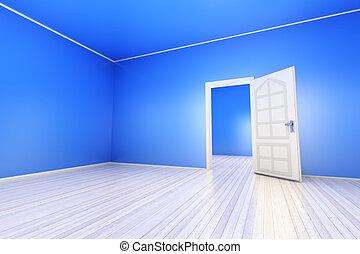 blaues, wohnung