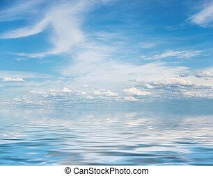 blaues, wolkenhimmel, himmelsgewölbe, oberfläche, wasser,...