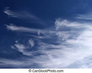 blaues, wolkenhimmel, himmelsgewölbe, spindrift,...