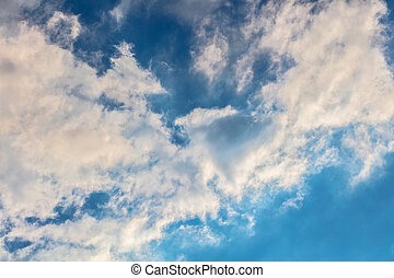 blaues, wolkenhimmel, nahaufnahme, himmelsgewölbe