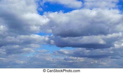 blaues, wolkenhimmel, naturquerformat, himmelsgewölbe, zeit-...