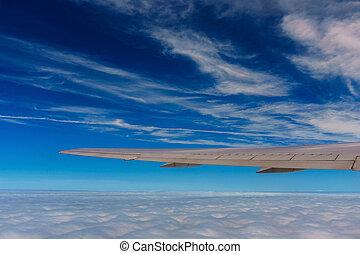 blaues, wolkenhimmel, raum, himmelsgewölbe, verkehrsflugzeug, fensteransicht