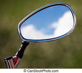 blaues, wolkenhimmel, reflexion, motobike, himmelsgewölbe, spiegel
