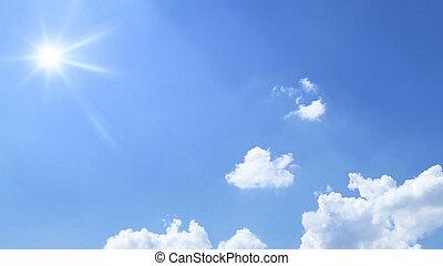 blaues, wolkenhimmel, sonne, himmelsgewölbe, hell, hintergrund