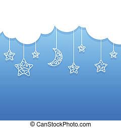 blaues, wolkenhimmel, sternen, mond, hintergrund, hängender