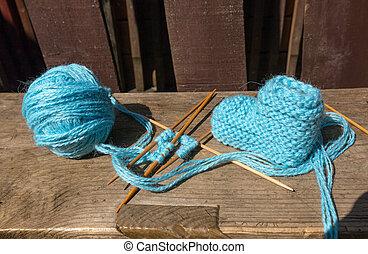blaues, wolle, strickzeug, struempfe