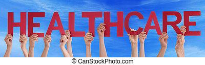 blaues, Wort, gerade,  Healthcare, himmelsgewölbe, Besitz, Hände