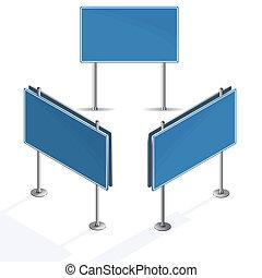 blaues zeichen, hintergrund, leer, weißes, straße