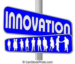 blaues zeichen, straße, innovation