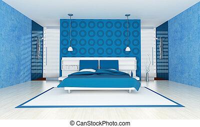 blaues, zeitgenössisch, schalfzimmer