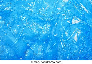 blaues, zerknittert, beschaffenheit, plastik, hintergrund, cellophan, tasche