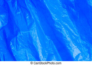 blaues, zerknittert, muell, abstrakt, beschaffenheit, plastiksack, hintergrund, film
