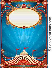 blaues, zirkus, hintergrund