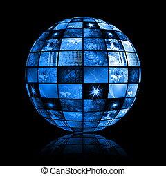 blaues, zukunftsidee, digitaler fernseher, hintergrund
