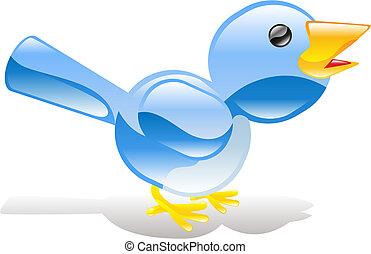blaues, zwitschern, ing, vogel, ikone
