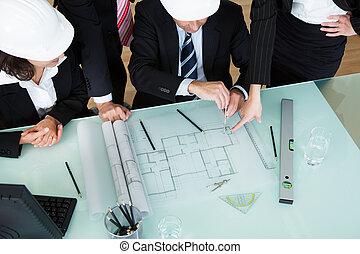 blaupause, besprechen, architekten
