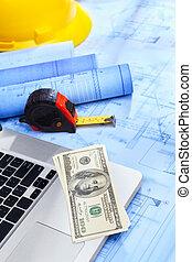 Blaupause, geld,  laptop