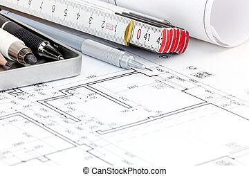 Blaupause, Grundrisse, Von, Modern, Wohnung, Mit, Zeichnung, Werkzeuge