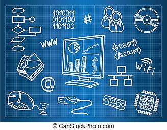 blaupause, informationen, hardware, edv, symbole, ...