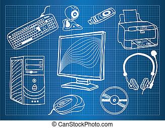 blaupause, von, computerhardware, -, peripher, vorrichtungen...